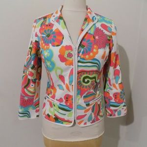 ETCETERA Bright Colored Floral Print Blazer, 2 NEW
